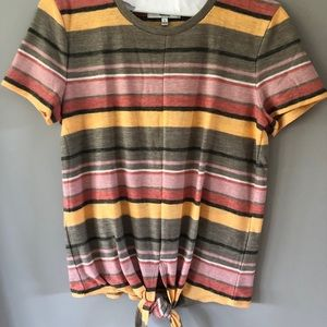 Madewell Texture & Thread Stripe Tie Front Tee